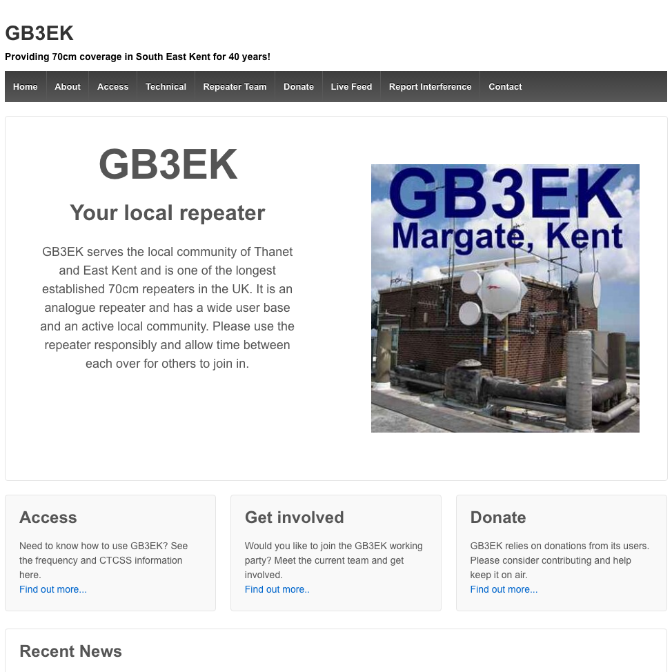 The new GB3EK website.